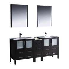 "Torino 72"" Espresso Double Sink Vanity, Side Cabinet and Bevera Chrome Faucet"