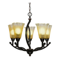 """Bow 5Lt Chand Black Copper Finish W/5.5"""" Amber Crystal Glass (275-BC-720)"""