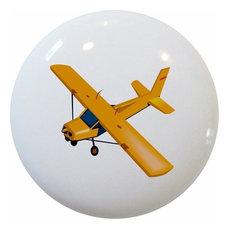 Yellow Airplane Ceramic Cabinet Drawer Knob