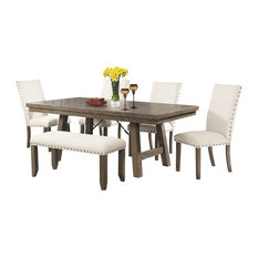 Dex 6-Piece Dining Set, Table, 4 Upholstered Side Chairs and Bench