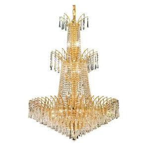 Elegant Lighting 8032G32G Victoria 18-Light 3 Tier Crystal Chandelier in Gold