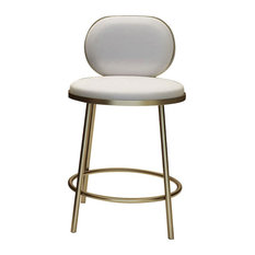 Bar Stool with Back Beige Faux Leather Upholstery Round Counter Stool