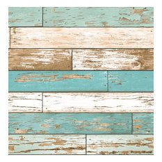 Scrap Wood Turquoise Weathered Texture Wallpaper, Bolt