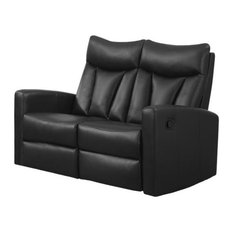 Reclining Loveseat, Bonded Leather, Black