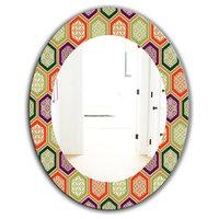 Designart Honeycomb 3 Modern Frameless Oval Or Round Wall Mirror, 24x32