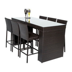 Outdoor Wicker Bar Table With Bar Stools, 7-Piece Set, With Back