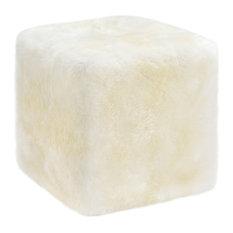 "Longwool Sheepskin Cube Chair, 22""x22""x20"", Ivory"