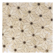 Flower Pattern Natural Stone Mosaic Tiles Polished, Crema Marfil and Emperador D