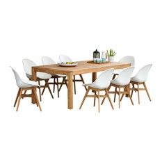 International Home Miami Corp - Amazonia Teak Charlotte 9-Piece Patio Sidechair Dining Set, White - Outdoor Dining Sets