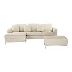 Oslo Modern Leather Modular Sofa With Ottoman, 3-Piece Set, Beige