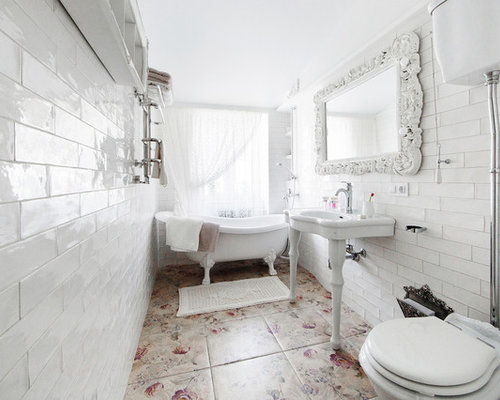 Houzz Master Tub Shower Combo With A Claw Foot Tub Design Ideas Remod