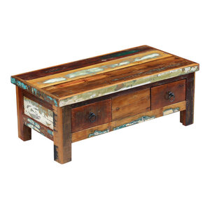 vidaXL Solid Reclaimed Wood Coffee Table with Drawers, 90x45x35 cm