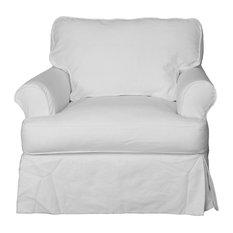 Horizon Slipcovered T-Cushion Chair, White