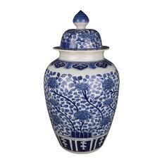 Willa Modern Classic Blue and White Porcelain Leaves Blossom Ginger Jar