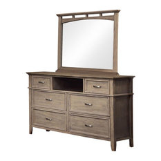 Furniture Of America Ackerson 2-Piece Wood Dresser With Mirror In Brown