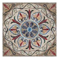 "Arabesque Floral Mosaic - Yanu, 35""x35"""