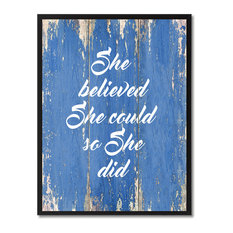 """She Believed She Could So She Did Inspirational, Canvas, Picture Frame, 7""""X9"""""""