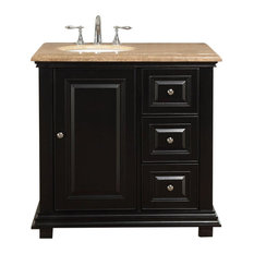 "36"" Transitional Single Sink Bathroom Vanity, Left, Travertine Top"
