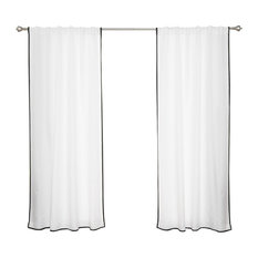"""Oxford Outdoor Small Border Curtains, White/Black, 52""""x96"""""""