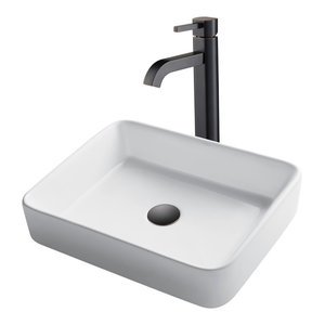 "KRAUS 19"" Rectangle Ceramic Bath Vessel Sink and Ramus Faucet, Oil Rubbed Bronze"