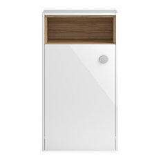 Open Shelf WC Unit, Gloss White and Cocobolo