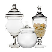 CYS Glass Apothecary Candy Buffet Jars, Set of 3