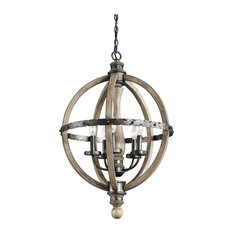 Lodge/Country/Rustic Evan Chandelier 1 Tier Small in Distressed Antique Gray