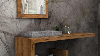 Mobile per il bagno in legno massello. Modello Denise