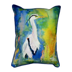 Betsy Drake Colorful Blue Heron Indoor-Outdoor Pillow