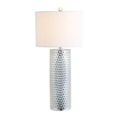 """Isabella 30"""" Glass Table Lamp, Silver"""