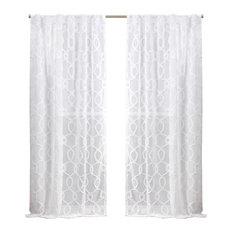 Nicole Miller Soft Trellis Hidden Tab Top Curtain Panel Pair, White, 54x96