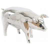 "32"" L Pig Side Table Sculpture Stainless Steel Mosaic Modern Contemporary"