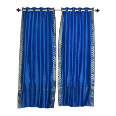 Indian Selections   Blue Ring Top Sheer Sari Curtain, Drape And Panel,  60x84,