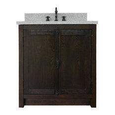 Hazel 31-inch Single Vanity Brown Ash Top Gray Granite And Oval Sink