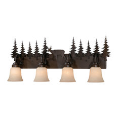 Bryce 4 Light Bronze Rustic Deer Bathroom Vanity Fixture