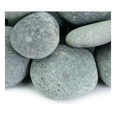 """Southwest Boulder & Stone - Smooth Rounded Mexican Beach Pebbles/Stones, Black, 2,000 lbs, 1""""-2"""" - Garden Statues and Yard Art"""