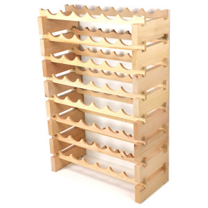 Modular Wine Rack Beech Wood 48-144 Bottle Capacity Storage 12 Bottles Across up to 12 Rows Stackable Newest Improved Model