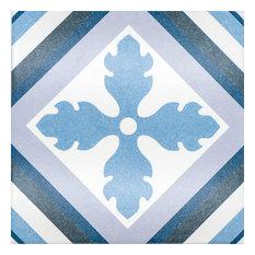 Avila 10 x 10 Ceramic Tile for Floor/Wall in Blues and Dark Grey
