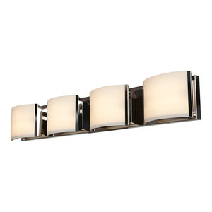 Nitro2 4-Light Dimmable LED Vanity, Brushed Steel With Opal Glass