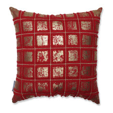 Grid 18-inch Throw Pillow Red/Gold