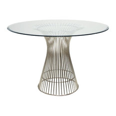 """Worlds Away Powell Dining Table, Stainless Steel, 42"""""""