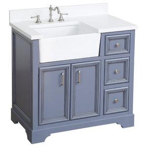 "Zelda Bathroom Vanity, Powder Gray, 36"", Top: Quartz, Single Sink"
