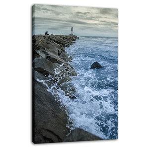 """Splashing on the Jetty"" Coastal Landscape Photo Fine Art Canvas Wall Art Print,"