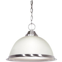 """1-Light 15"""" Pendant, Frosted Prismatic Dome, Brushed Nickel"""
