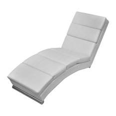 Lounge Faux Leather Chaise, White