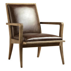 DOVETAIL SHAUN Arm Chair Light Brown Natural Oak Frame Leather