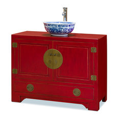 Chinese Ming Style Red Cabinet With Bowl And Faucet