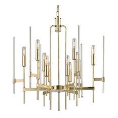 Bari, Twelve Light Chandelier, Aged Brass Finish, Clear Glass