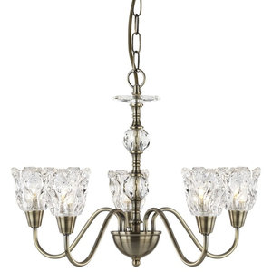 Monarch 5-Arm Chandelier, Clear Inserts Column and Shades, Antique Brass