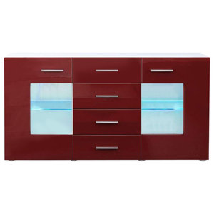Sideboard Chest of Drawers in MDF with 2 Doors, 4 Drawers and 2 Glass Shelves